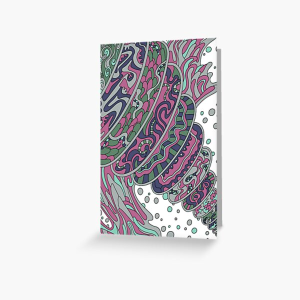 Wandering Abstract Line Art 11: Pink Greeting Card