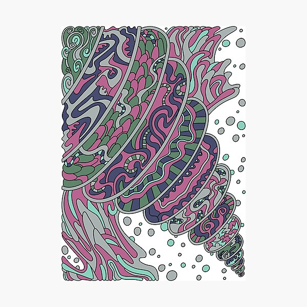 Wandering Abstract Line Art 11: Pink Photographic Print