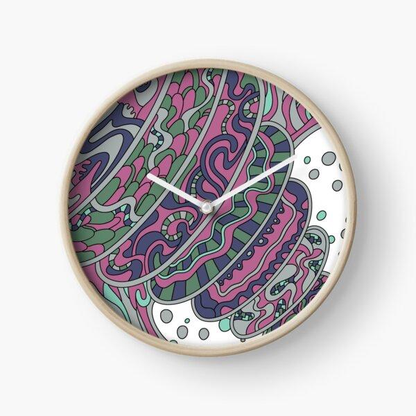 Wandering Abstract Line Art 11: Pink Clock