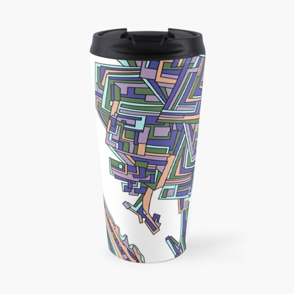 Wandering Abstract Line Art 12: Purple Travel Mug