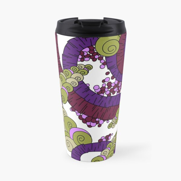 Wandering Abstract Line Art 13: Burgundy Travel Mug