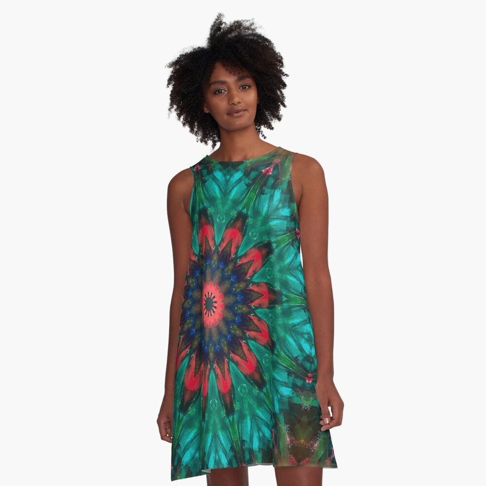 All Together Now Colorful Mandala - In Teal Green Red and Blue - Abstract Art A-Line Dress
