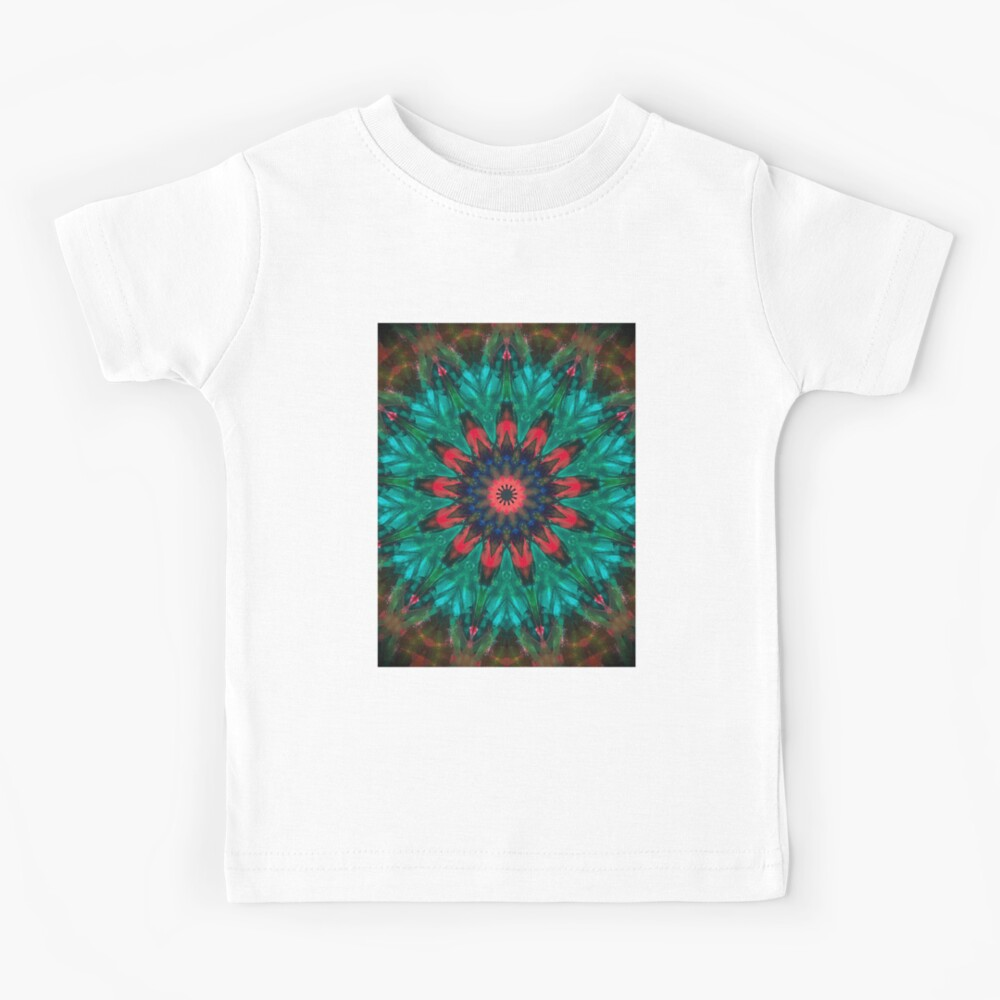 All Together Now Colorful Mandala - In Teal Green Red and Blue - Bohemian Art Kids T-Shirt