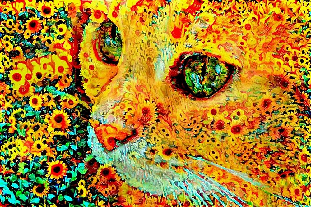 Sonnenblume-Katze von Peggy Collins