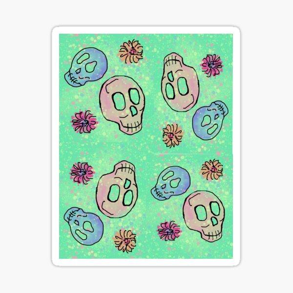 skull doodles - bright Sticker