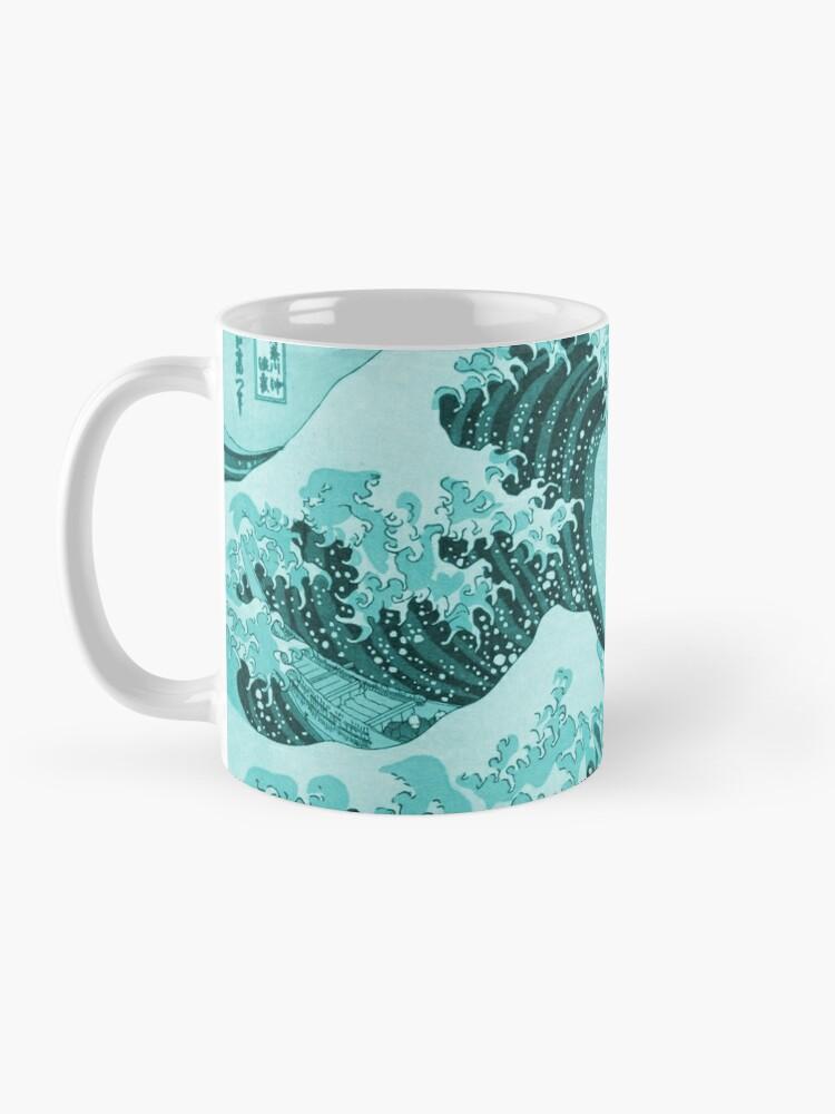Alternate view of Aqua Blue Tsunami Japanese Great Wave off Kanagawa by Hokusai Mug