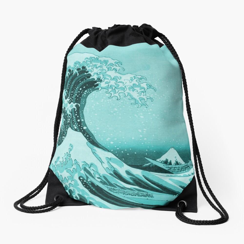Aqua Blue Tsunami Japanese Great Wave off Kanagawa by Hokusai Drawstring Bag