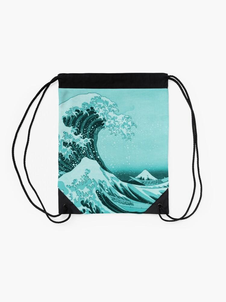 Alternate view of Aqua Blue Tsunami Japanese Great Wave off Kanagawa by Hokusai Drawstring Bag