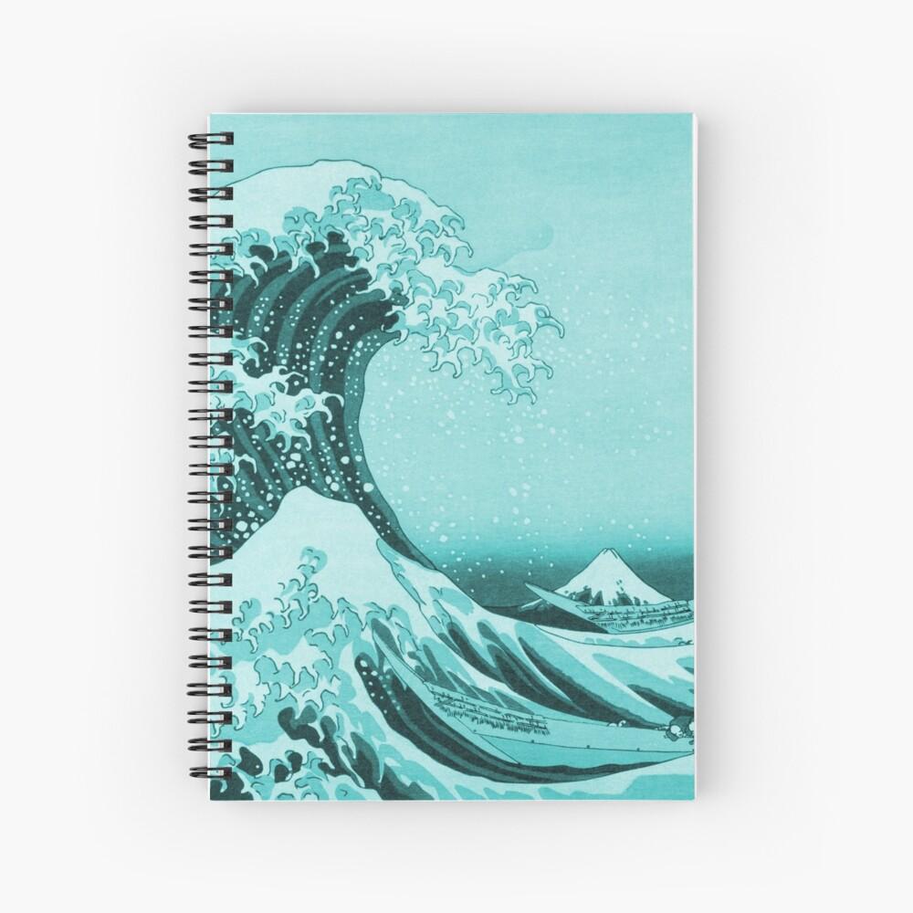 Aqua Blue Tsunami Japanese Great Wave off Kanagawa by Hokusai Spiral Notebook