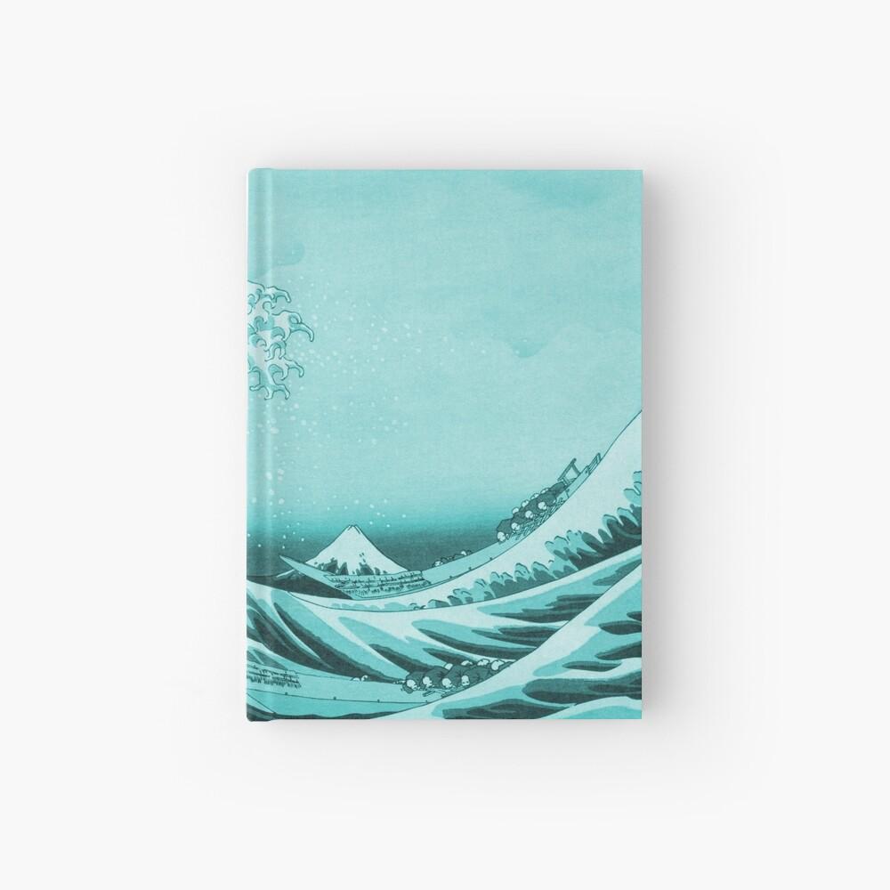 Aqua Blue Tsunami Japanese Great Wave off Kanagawa by Hokusai Hardcover Journal
