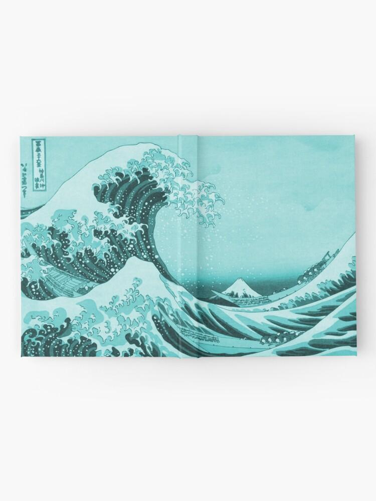 Alternate view of Aqua Blue Tsunami Japanese Great Wave off Kanagawa by Hokusai Hardcover Journal