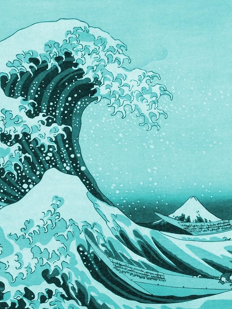 Aqua Blue Tsunami Japanese Great Wave off Kanagawa by Hokusai by podartist