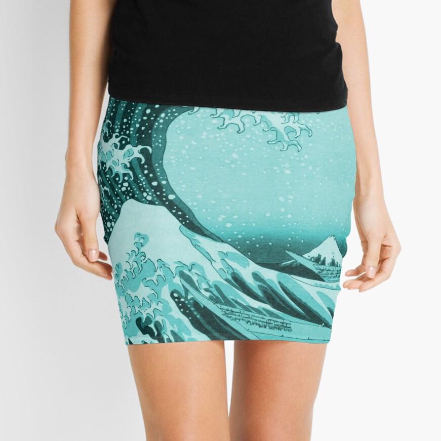 Aqua Blue Tsunami Japanese Great Wave off Kanagawa by Hokusai Mini Skirt