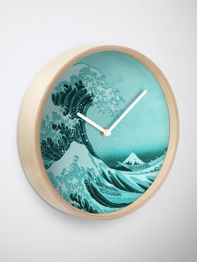 Alternate view of Aqua Blue Tsunami Japanese Great Wave off Kanagawa by Hokusai Clock