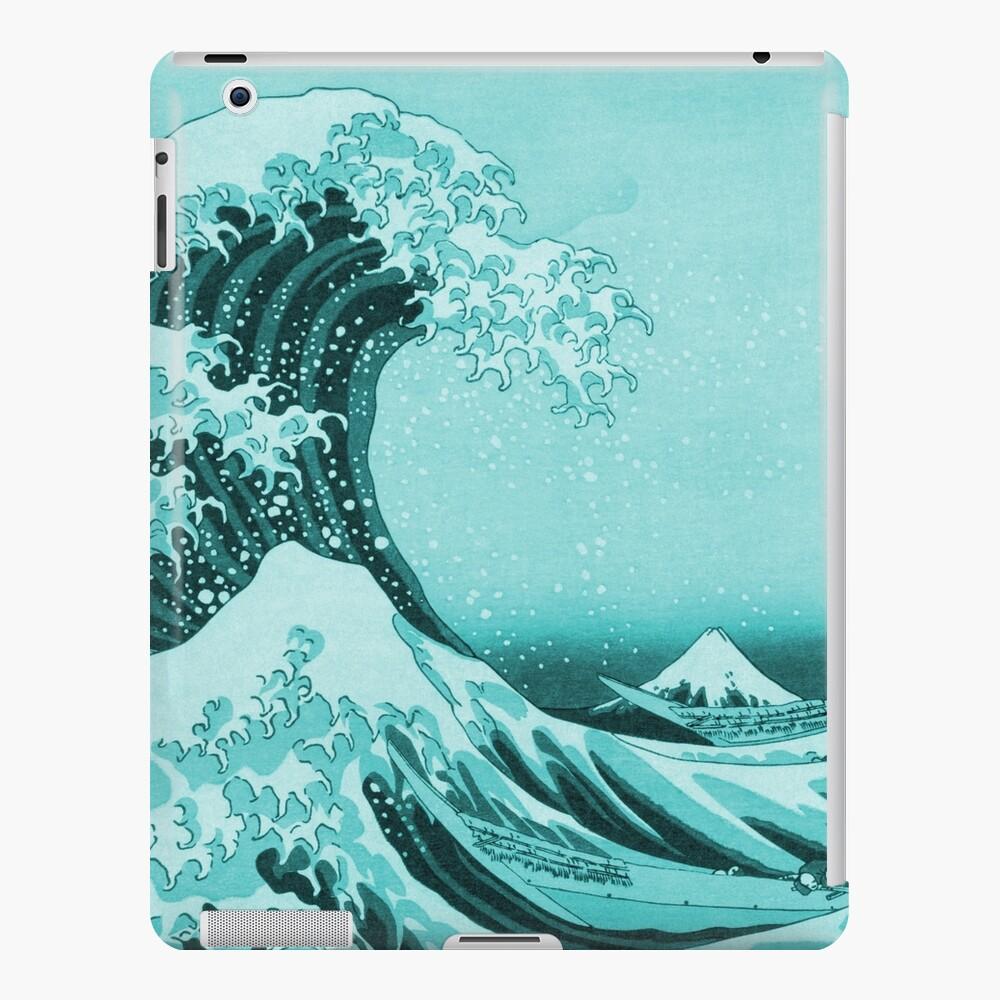 Aqua Blue Tsunami Japanese Great Wave off Kanagawa by Hokusai iPad Case & Skin