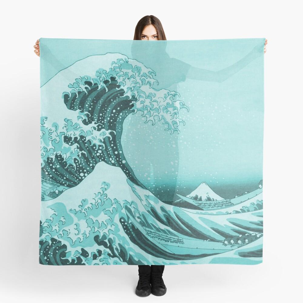 Aqua Blue Tsunami Japanese Great Wave off Kanagawa by Hokusai Scarf