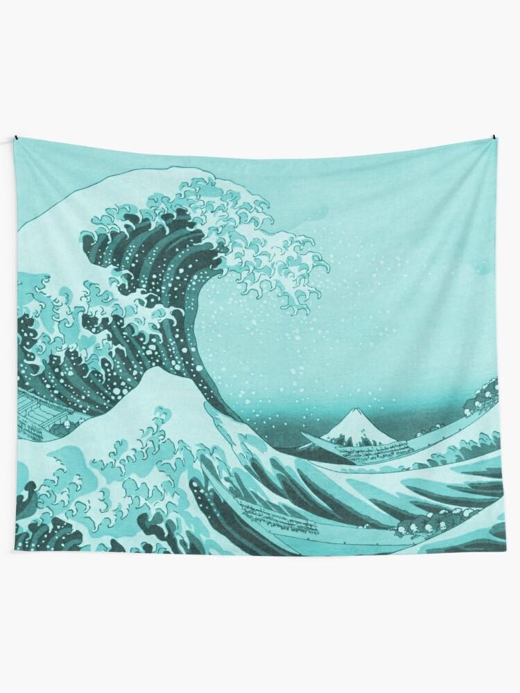 Alternate view of Aqua Blue Tsunami Japanese Great Wave off Kanagawa by Hokusai Tapestry