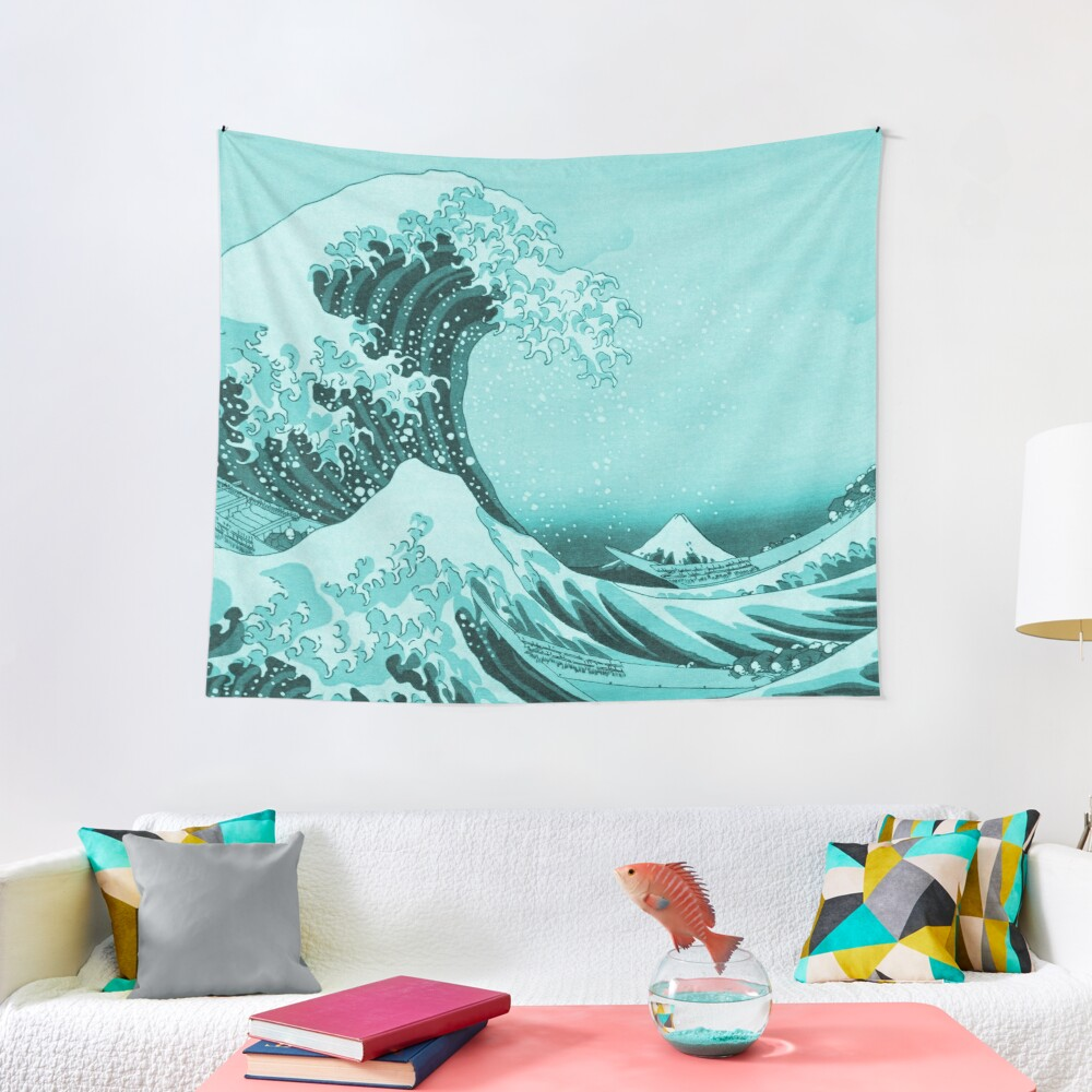 Aqua Blue Tsunami Japanese Great Wave off Kanagawa by Hokusai Tapestry