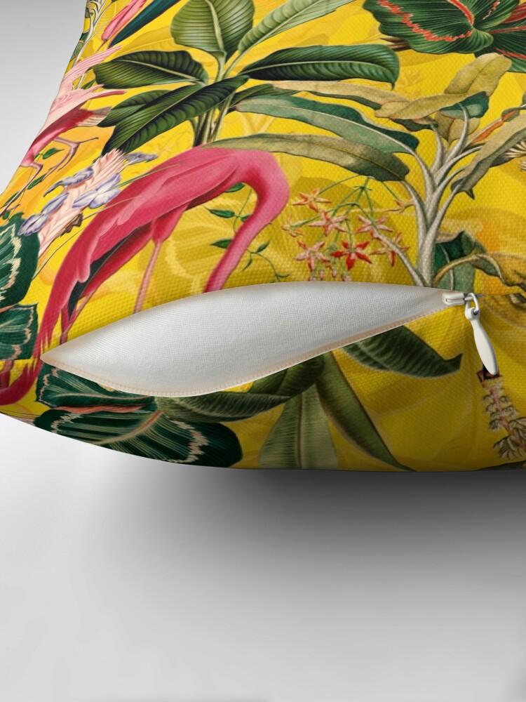 Alternate view of Vintage Yellow Tropical Bird Jungle Garden  Throw Pillow