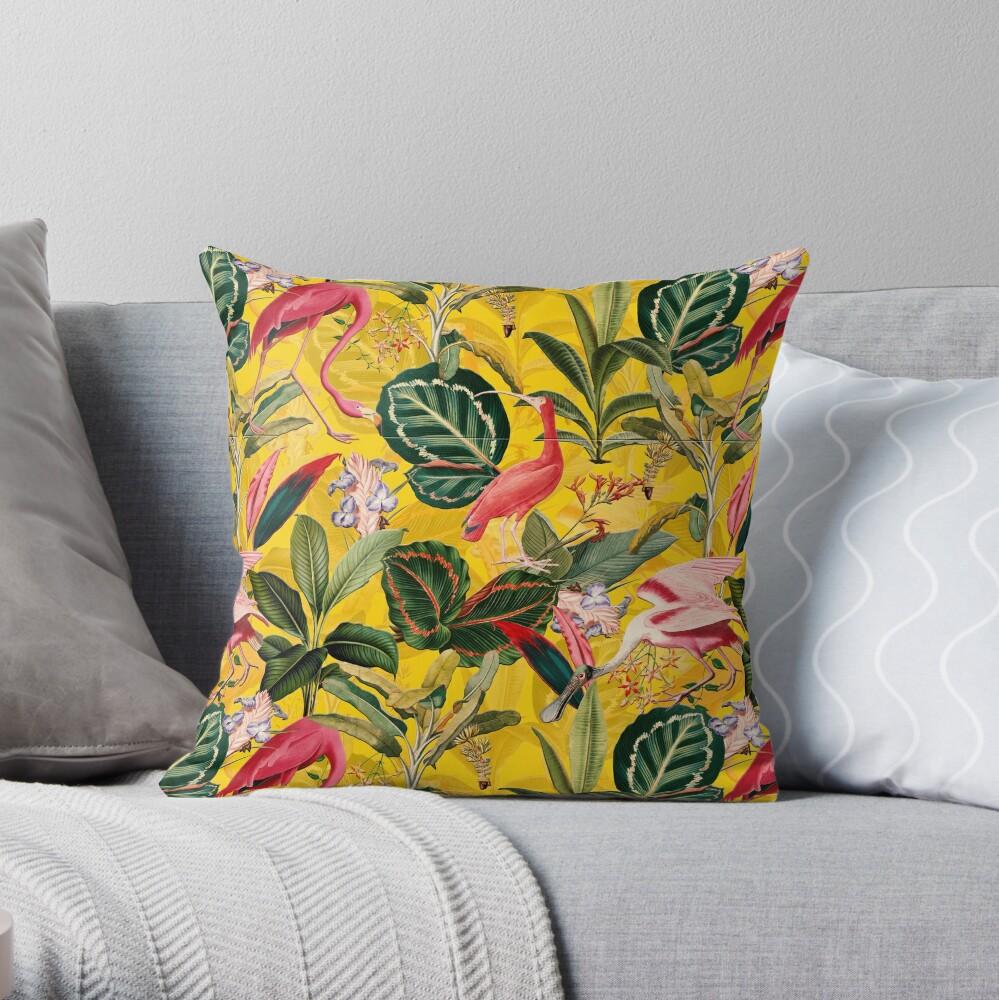 Vintage Yellow Tropical Bird Jungle Garden  Throw Pillow