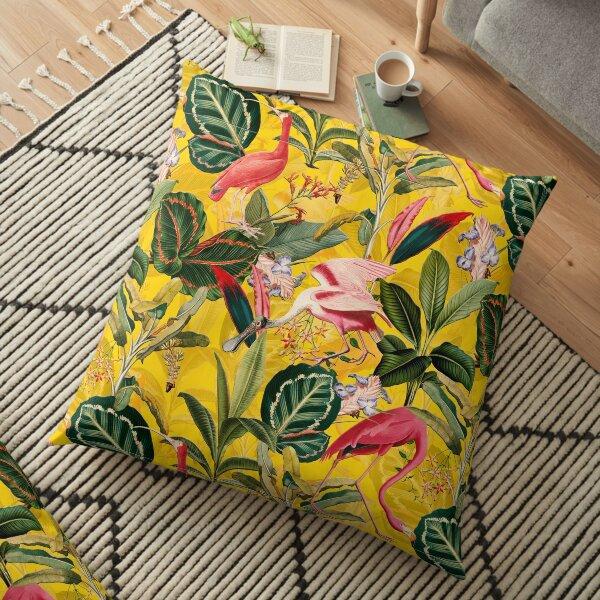 Vintage Yellow Tropical Bird Jungle Garden  Floor Pillow