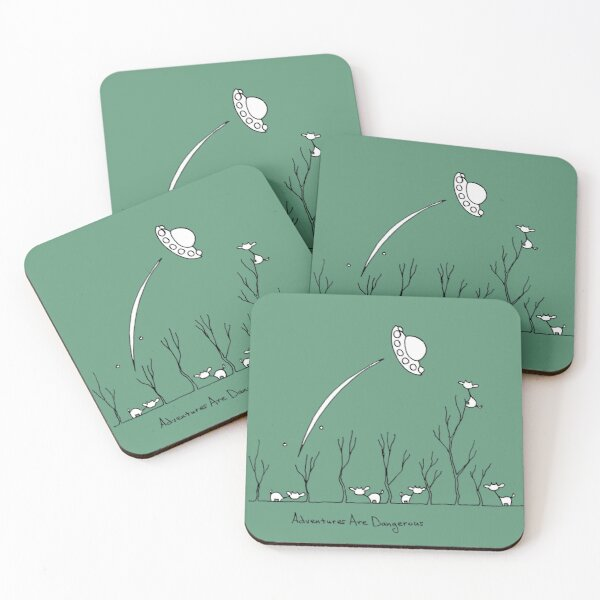 Cows in Forest with Departing UFO Coasters (Set of 4)