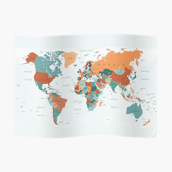 Map of the World in Burnt Orange and Teal Poster