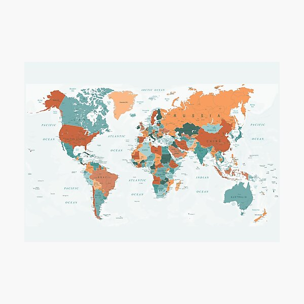 Map of the World in Burnt Orange and Teal Photographic Print