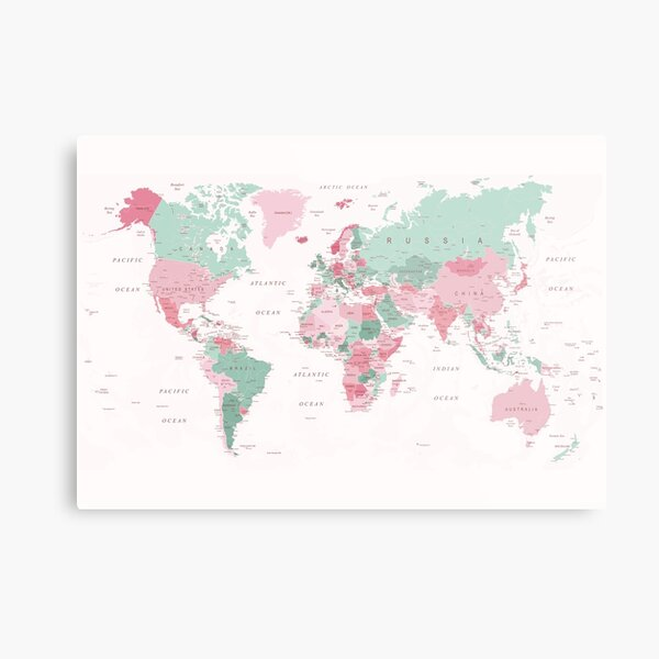 Map of the World Map of the World in Pink and Mint Green Metal Print