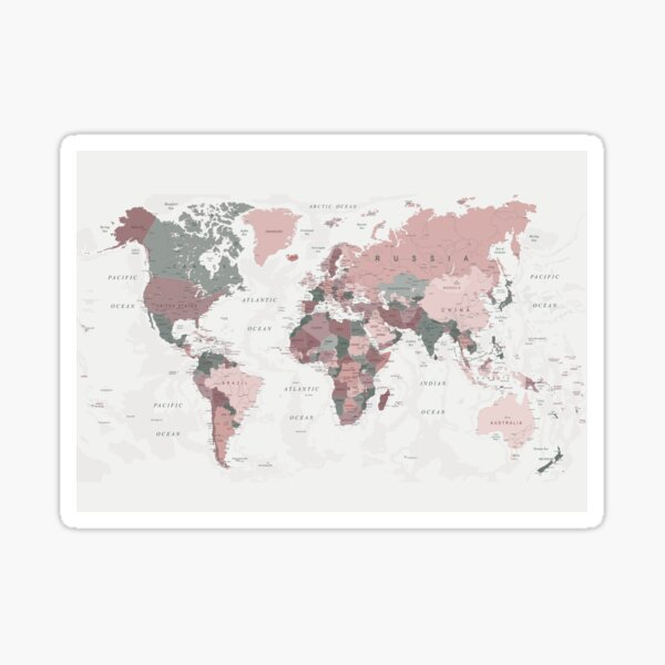 Map of the World in Pink and Green Sticker