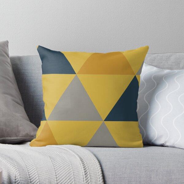 Triangular: Dark Mustard Yellow, Light Mustard Yellow, Navy Blue, and Grey. Minimalist Geometric Pattern. Throw Pillow