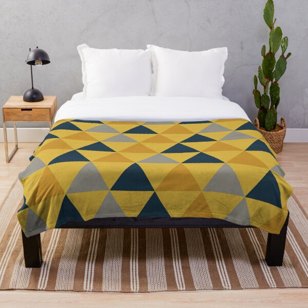 Triangular: Dark Mustard Yellow, Light Mustard Yellow, Navy Blue, and Grey. Minimalist Geometric Pattern Throw Blanket