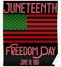 Juneteenth American Flag mit Pan African Colors Black History Poster