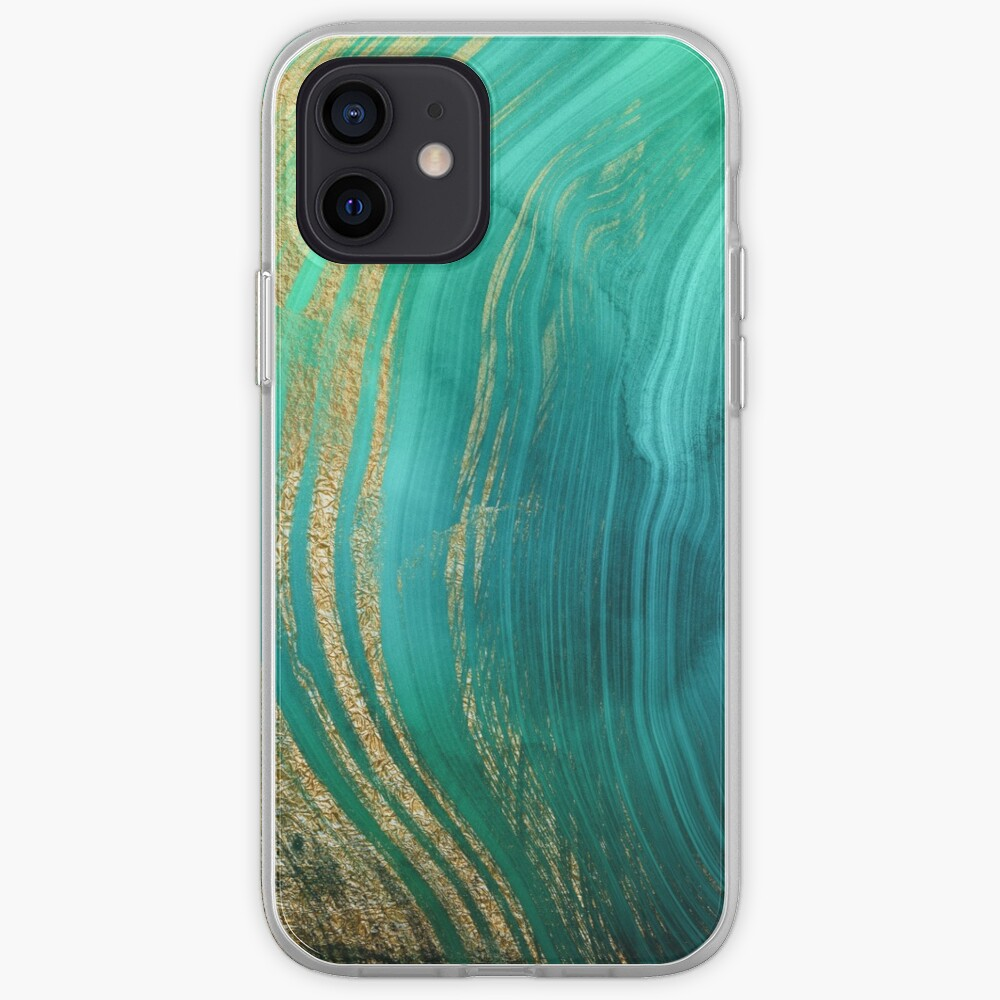 Malachite Green Marble with Gold Veins iPhone Case & Cover