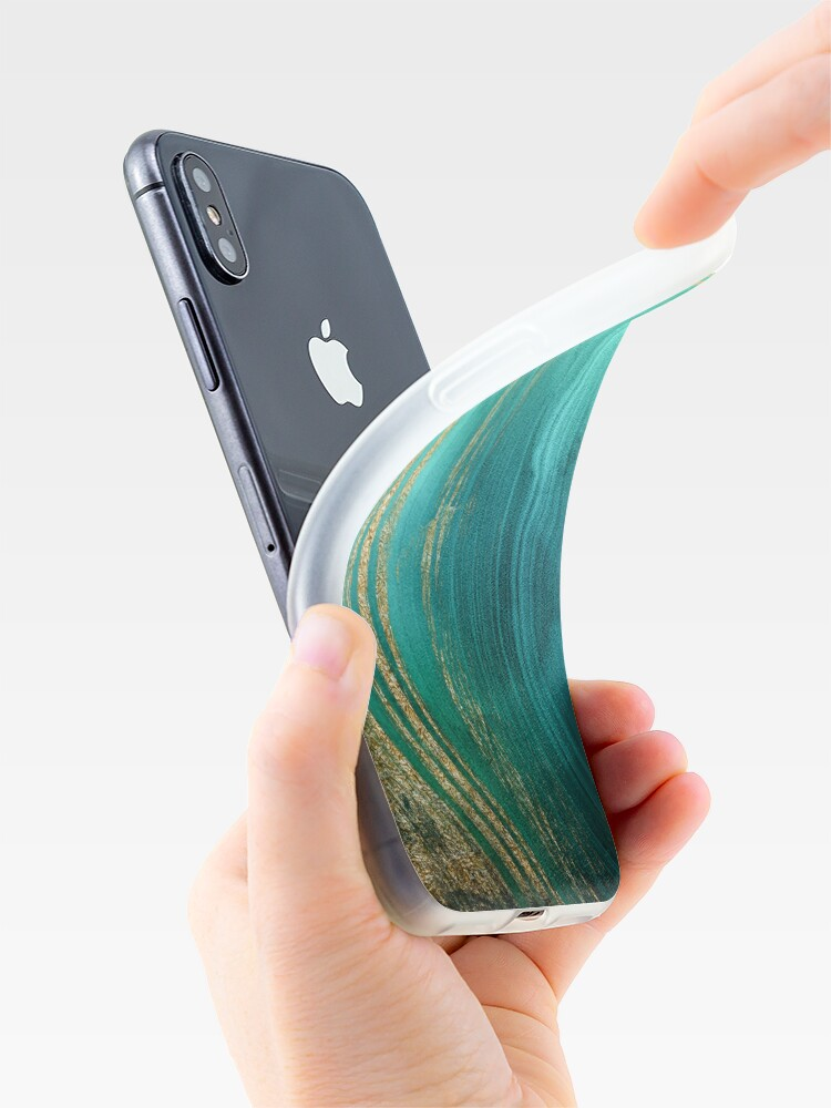 Alternate view of Malachite Green Marble with Gold Veins iPhone Case & Cover