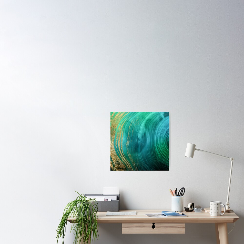 Malachite Green Marble with Gold Veins Poster