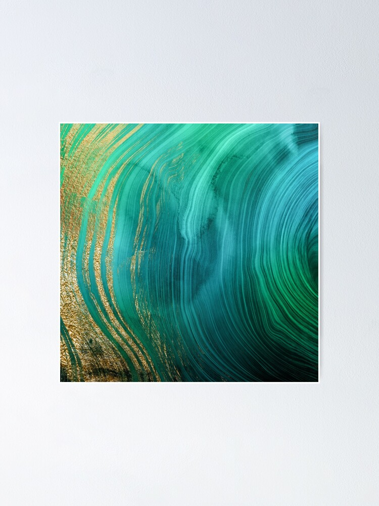 Alternate view of Malachite Green Marble with Gold Veins Poster