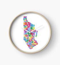 Reloj Manhattan New York Typography Text Map