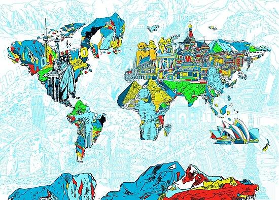 World Map landmarks 5 by BekimART
