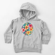 OTT Maximalist Hawaiian Hibiscus Floral with Stripes Toddler Pullover Hoodie