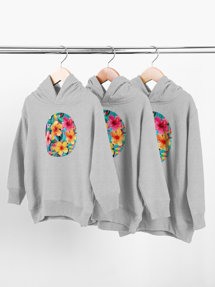 Alternate view of OTT Maximalist Hawaiian Hibiscus Floral with Stripes Toddler Pullover Hoodie