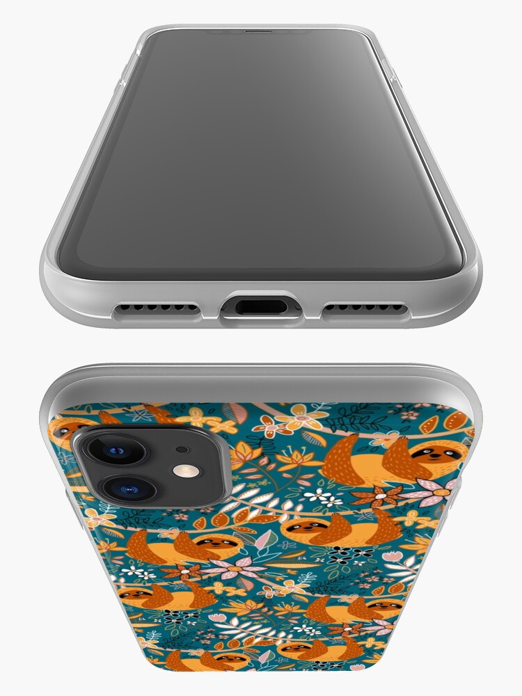 Alternate view of Happy Boho Sloth Floral  iPhone Case & Cover