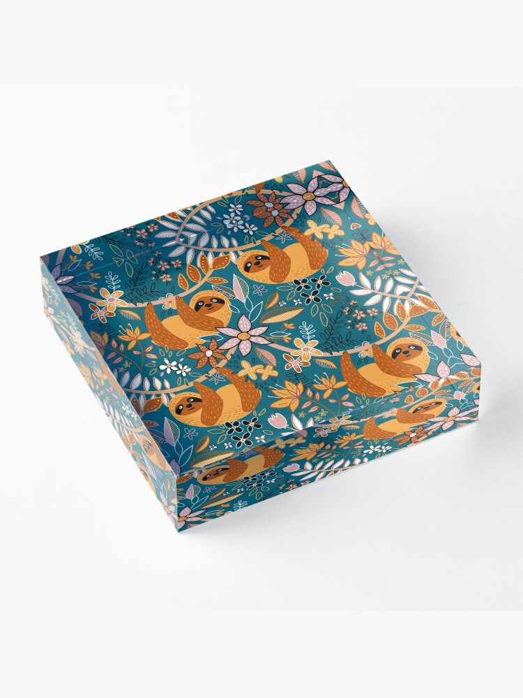 Alternate view of Happy Boho Sloth Floral  Acrylic Block