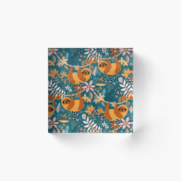 Happy Boho Sloth Floral  Acrylic Block