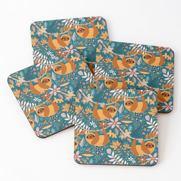 Happy Boho Sloth Floral  Coasters (Set of 4)