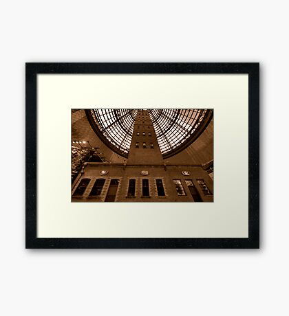 Things Are Looking Up - Coops Shot Tower Melbourne Australia (Sepia) - The HDR Experience Framed Print