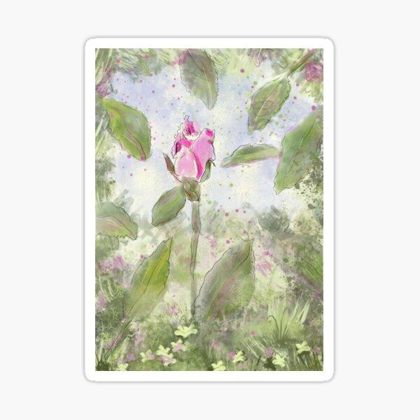 Pink Rosebud on a Summer Day Sticker