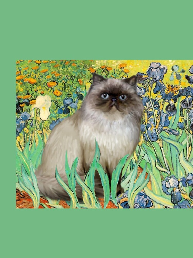 Famous Art:  Irises (Van Gogh)-adapted with a Himalayan Cat by JeanBFitzgerald
