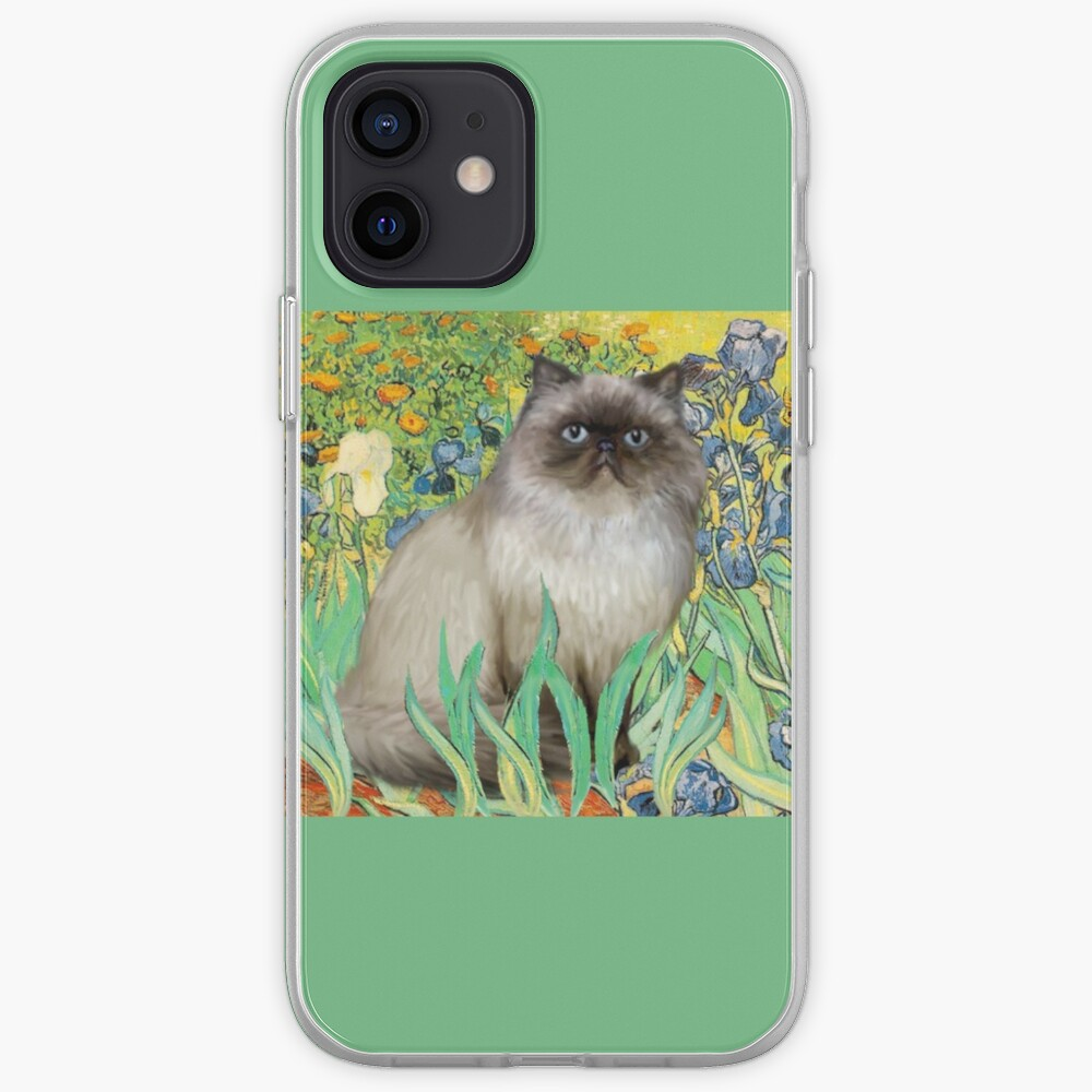 Famous Art:  Irises (Van Gogh)-adapted with a Himalayan Cat iPhone Case & Cover