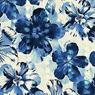 Shibori Inspired Oversized Indigo Floral by micklyn
